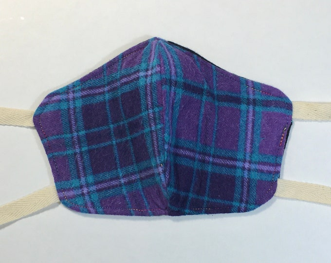 Blue & Purple Plaid Cotton Flannel Face Mask with Ties