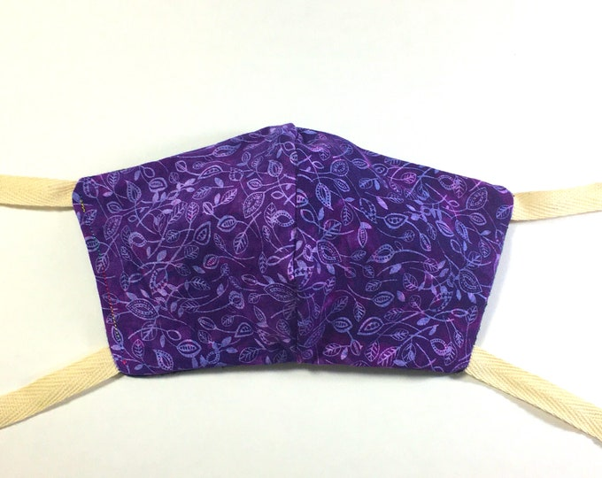 Hand Dyed Purple Tie Dye Leaves Quilter's Showcase Cotton Washable Face Mask with Ties