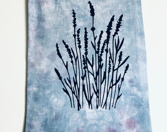 Lavender Dish Towels - Farmhouse Kitchen Decor - Screen Print Tie Dye Tea Towels - Gift for Her - Home Decor