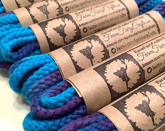 484f7145073122 Tie Dye Shoelaces - Blue   Purple Thick Round Braided 54