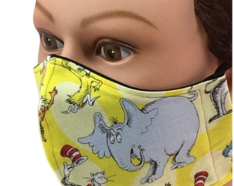 Dr. Seuss Characters Yellow Cotton Face Mask - Reusable - Washable - Non-Medical