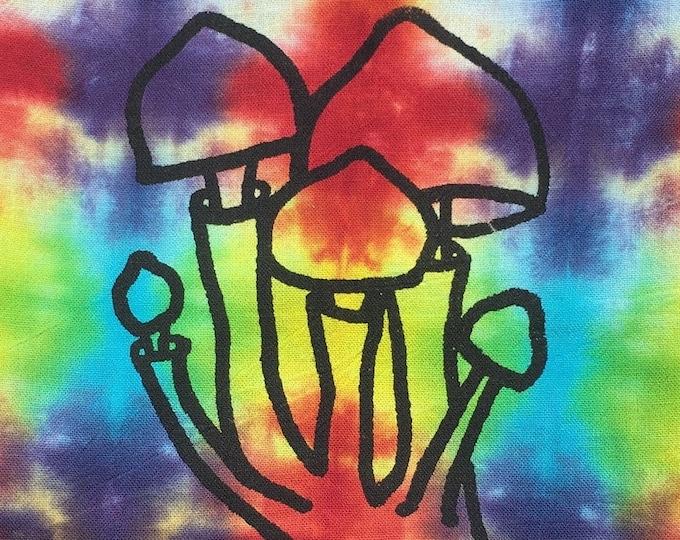 Tea Towel - Rainbow Tie Dye, Mushroom Shroom Screen Print