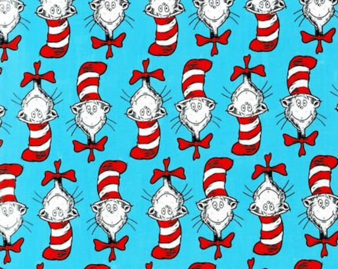1/4+ Yard Dr. Seuss Cat in the Hat - Turquoise Cotton Fabric By the 1/4 Quarter Yard or 1/2 Yard - Face Masks Quilting
