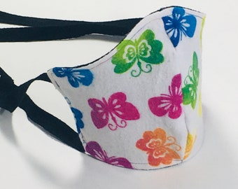 Rainbow Butterfly & Black Cotton Flannel Face Mask with Ties