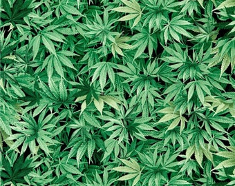 1/4+ Yard Marijuana Weed Leaves - Green Cotton Fabric By the 1/4 Quarter Yard or 1/2 Yard - Face Masks Quilting