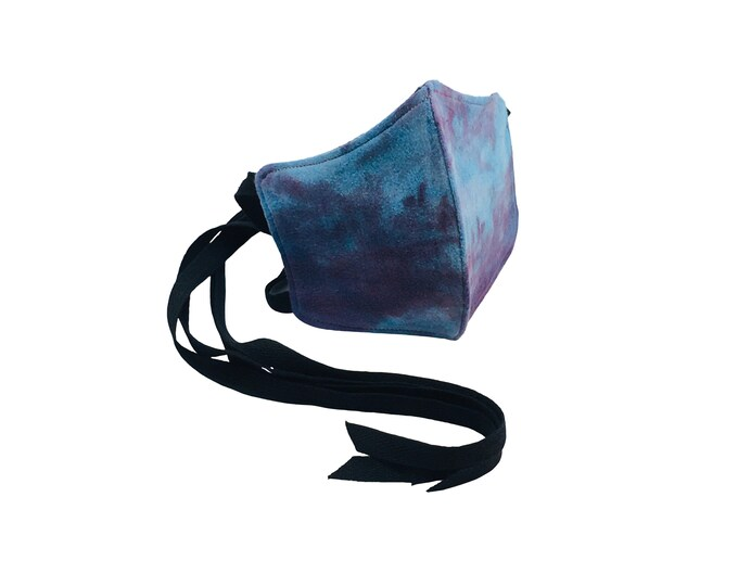 Blue Purple Indigo Shibori Tie Dye & Black Cotton Washable Face Mask with Ties