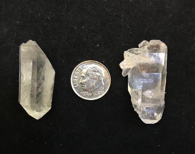 2 Large Arkansas Quartz Double Terminated Jewelry Points, {DT-3}