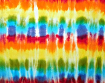 Hand Dyed Rainbow Shibori Tie Dye Cotton Flannel Quilting Fabric 1/2 Yard