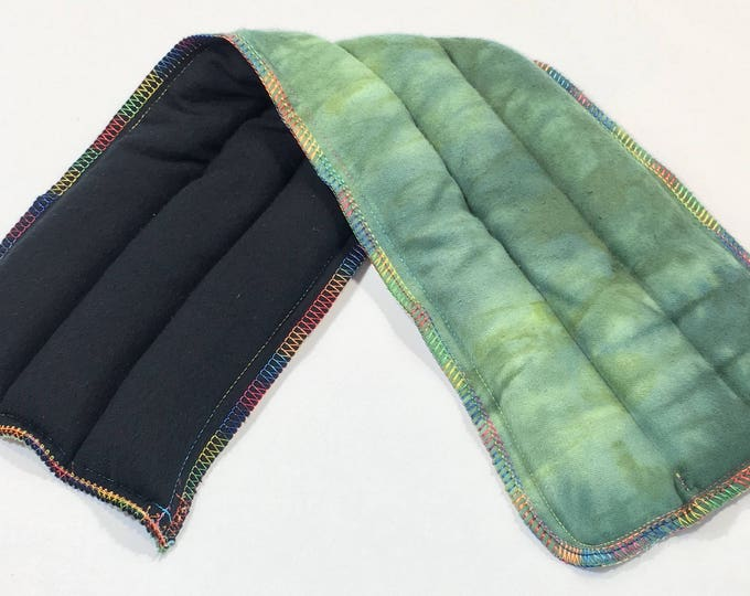Rice Heating Pad, Microwave Flax Corn Bag - Long, Green Tie Dye