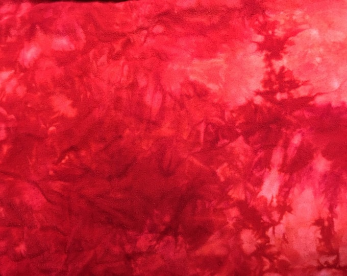 Hand Dyed Red Tie Dye Cotton Flannel Quilting Fabric Fat Quarter