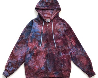 Red and Blue Tie Dye Heavyweight Hoodie, Small