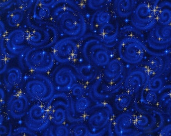 1/4+ Yard Gold Stars Swirls - Blue Cotton Fabric By the 1/4 Quarter Yard or 1/2 Yard - Face Masks Quilting