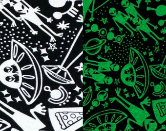 1/4+ Yard Glow in the Dark Aliens - Black Cotton Flannel Fabric By the 1/4 Quarter Yard or 1/2 Yard - Face Masks Quilting