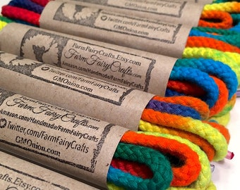 """72"""" Tie Dye Shoelaces - Rainbow Thick Round Braided"""