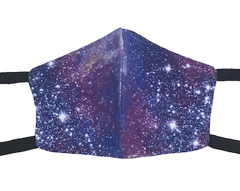Galaxy Print & Black Cotton Flannel Face Mask with Ties