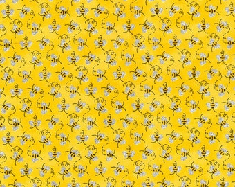 Mini Bees with Glitter - Yellow Cotton Fabric By the 1/4 Quarter Yard or 1/2 Yard - Face Masks Quilting