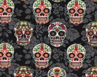 1/4+ Yard Sugar Skulls Halloween - Cotton Fabric By the 1/4 Quarter Yard or 1/2 Yard - Face Masks Quilting