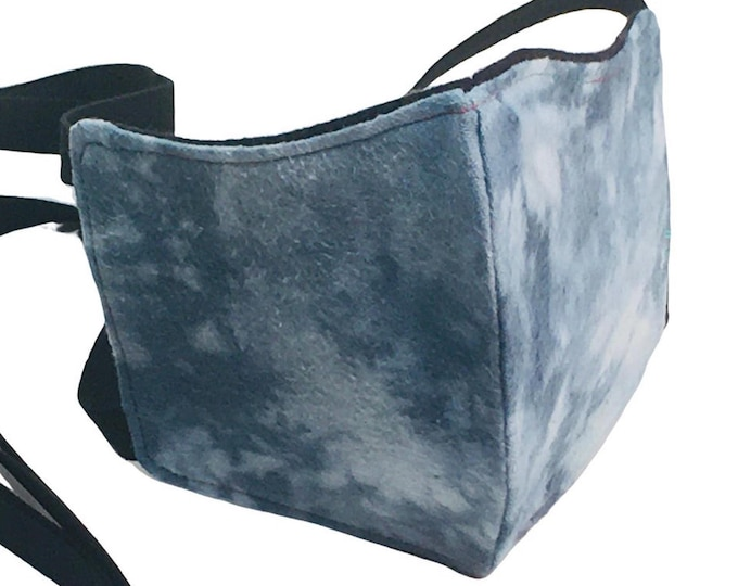 Cotton Flannel Face Mask with Nose Wire, Filter Pocket, and Elastic Ties - Reusable - Washable - Non-Medical