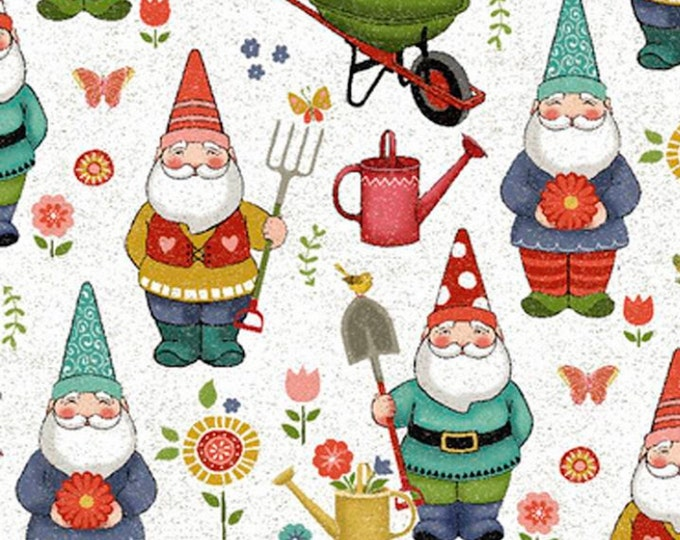 1/4+ Yard Garden Gnome - Cotton Fabric By the 1/4 Quarter Yard or 1/2 Yard - Face Masks Quilting