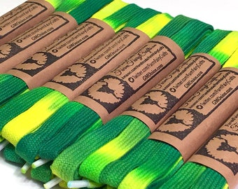 """54"""" Tie Dye Shoelaces, Green and Yellow"""