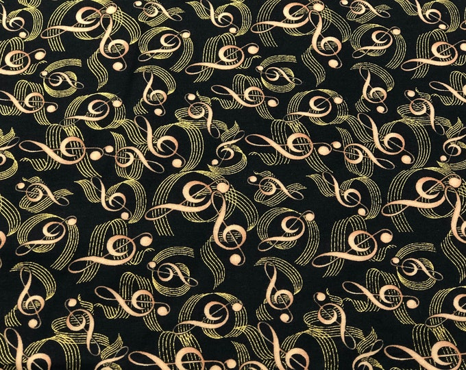 1/4+ Yard Gold Music Notes - Fabric Black Cotton Fabric By the 1/4 Quarter Yard or 1/2 Yard - Face Masks Quilting
