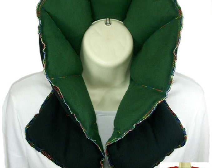 Microwave Neck Shoulder Wrap Heating Pad - Organic Flax Rice Bag Heat Therapy Pack - Green
