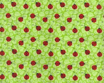 Ladybugs on Green Leaves - Cotton Fabric By the 1/4 Quarter Yard or 1/2 Yard - Face Masks Quilting