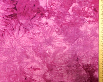 Hand Dyed Pink Tie Dye Cotton Flannel Quilting Fabric by the Yard