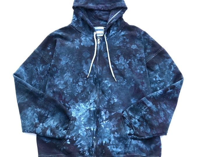 Blue Tie Dye Heavyweight Hoodie, Large