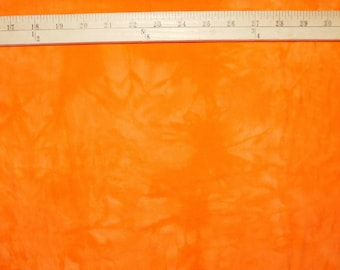Hand Dyed Orange Tie Dye Cotton Flannel Quilting Fabric by the Yard
