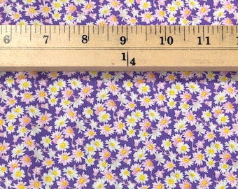 1/4+ Yard Daisies on Purple - Floral Cotton Fabric By the 1/4 Quarter Yard or 1/2 Yard - Face Masks Quilting