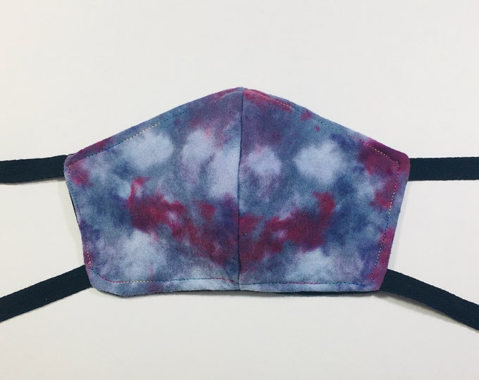 Blue & Purple Tie Dye and Black Cotton Flannel Face Mask with Ties