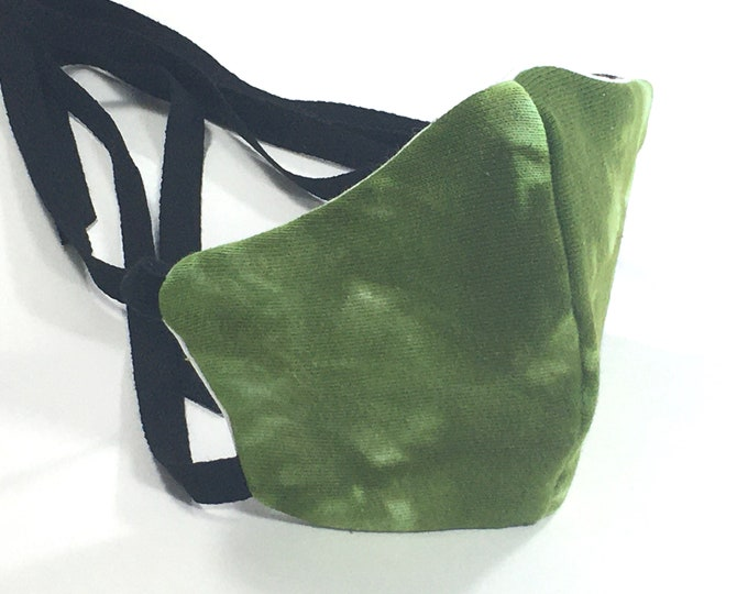 Organic Cotton Fabric Green Tie Dye Washable Face Mask with Ties
