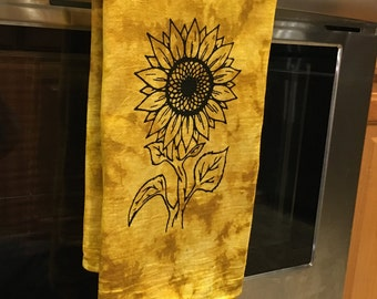 Sunflower Dish Towels - Farmhouse Kitchen Decor - Screen Print Tie Dye Tea Towels - Gift for Her - Home Decor