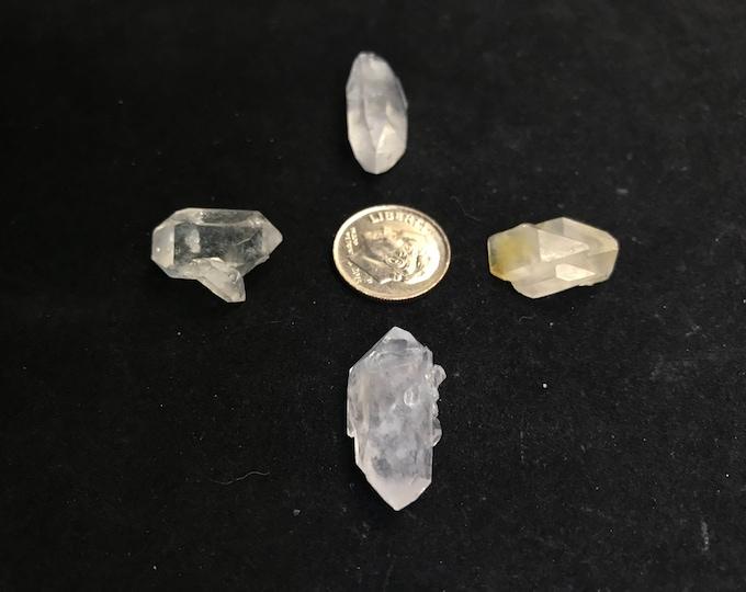 4 Small Arkansas Quartz Double Terminated Jewelry Points, {DT-1}