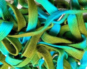 """45"""" Tie Dye Shoelaces - Blue & Green"""