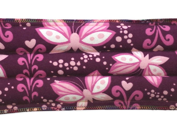 Rice Flax Bag Neck Warmer Heating Pad - Butterflies Fabric