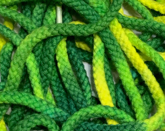 """54"""" Tie Dye Shoelaces - Green & Yellow Thick Round Braided"""