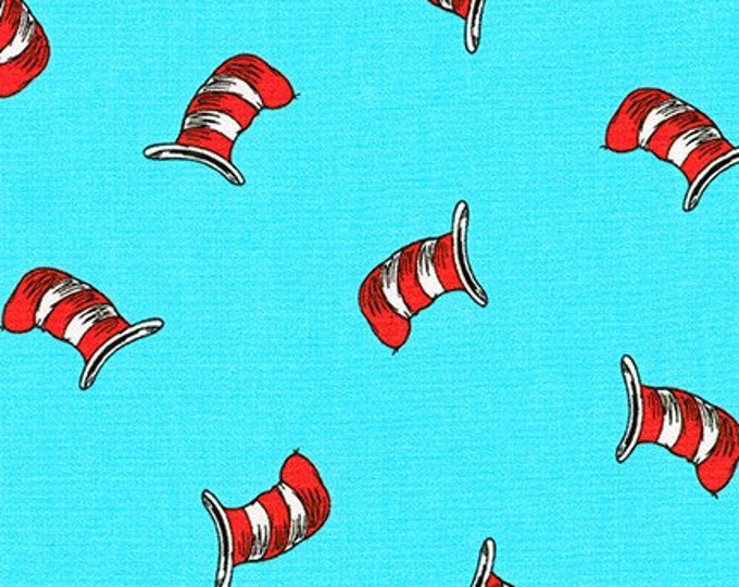 1/4+ Yard Dr. Seuss Cat in the Hat - Light Blue Cotton Fabric By the 1/4 Quarter Yard or 1/2 Yard - Face Masks Quilting