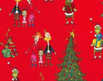 1/4+ Yard Dr. Seuss How the Grinch Stole Christmas - Red Cotton Fabric By the 1/4 Quarter Yard 1/2 Yard or Yard - Face Masks Quilting