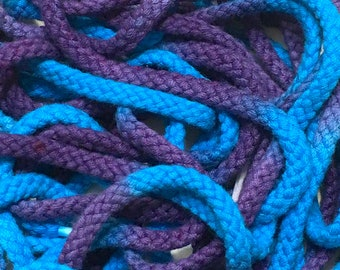 """45"""" Tie Dye Shoelaces - Blue & Purple Thick Round Braided"""