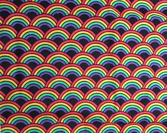 1/4+ Yard Rainbows in Line - Cotton Fabric By the 1/4 Quarter Yard 1/2 Yard or Yard - Face Masks Quilting
