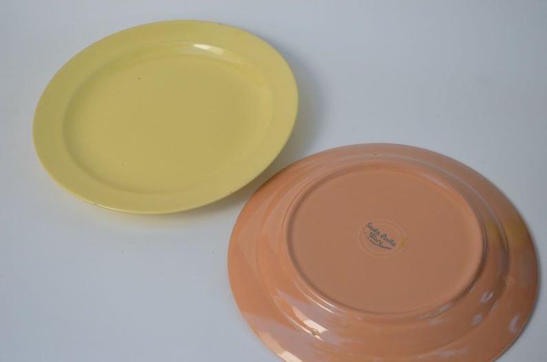 Santa Anita Ware Vintage 12/' Platters in Yellow and Soft Peach