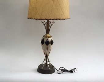 Original Mid Century Modern Harlequin Table Lamp with Whipstitched Resin Shade