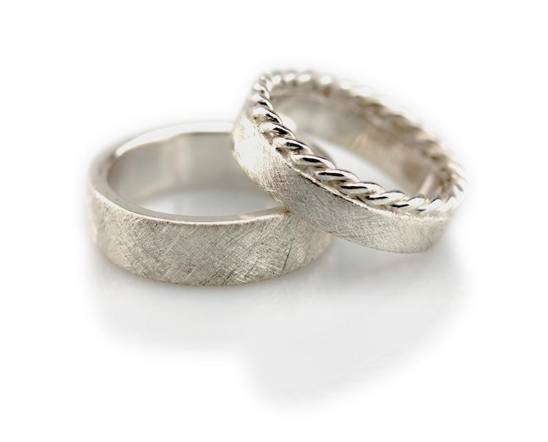 Wedding Rings Cord & Strichmatt Silver Wedding Rings Pair no Stone/ kein Stein