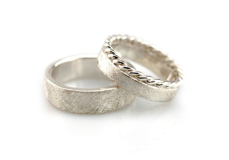 Wedding Rings Cord /& Strichmatt Silver Wedding Rings Pair