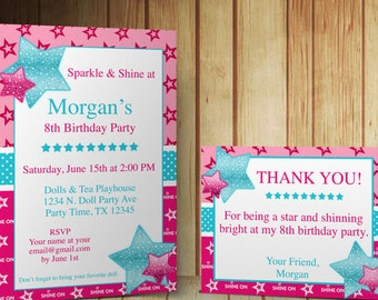 American girl invite etsy diy do it yourself sparkle shine american birthday girl editable invitation and thank you card template microsoft word format solutioingenieria Images