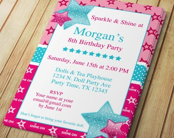 American girl invite etsy diy do it yourself sparkle shine star american birthday girl editable invitation template microsoft word format solutioingenieria Images