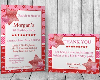 American girl invite etsy diy do it yourself sparkle shine american birthday girl editable invitation and thank you card template microsoft word format filmwisefo