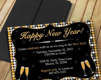 diy do it yourself happy new year invitation editable template microsoft word format